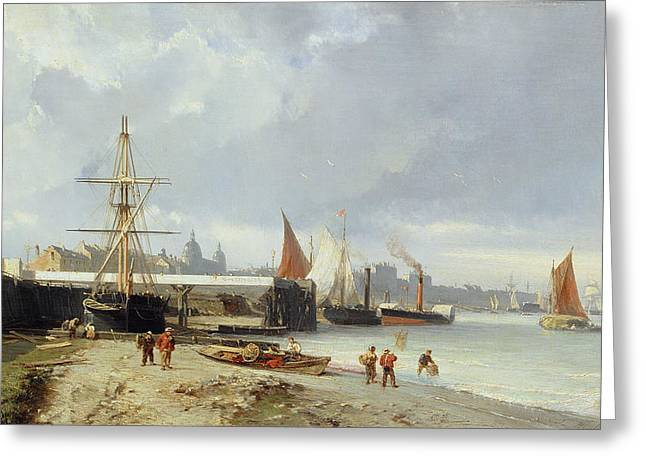 Sailing Boat Greeting Cards - The Docks On The Bank At Greenwich Oil On Panel Greeting Card by Julius Hintz