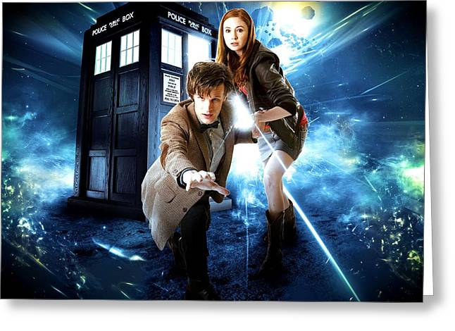 Personality Mixed Media Greeting Cards - The Doctor and Amy Pond Greeting Card by Kenneth A Mc Williams
