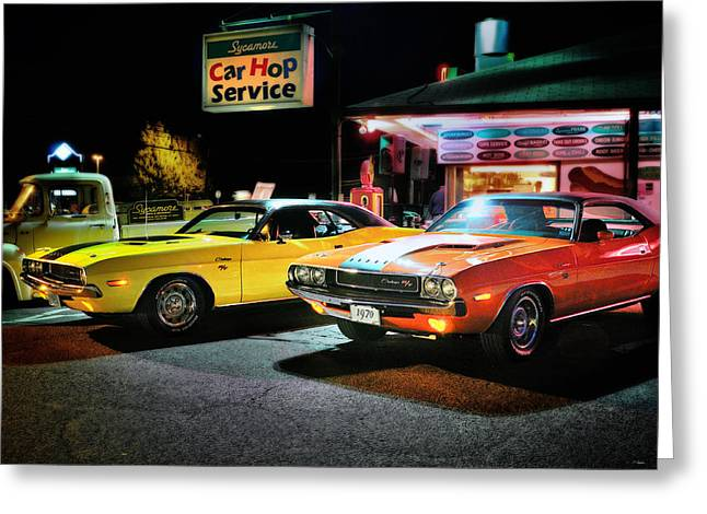 Night Life Greeting Cards - The Dodge Boys - Cruise Night at the Sycamore Greeting Card by Thomas Schoeller