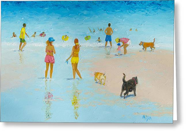 Dog Beach Print Greeting Cards - The Dog Beach Greeting Card by Jan Matson