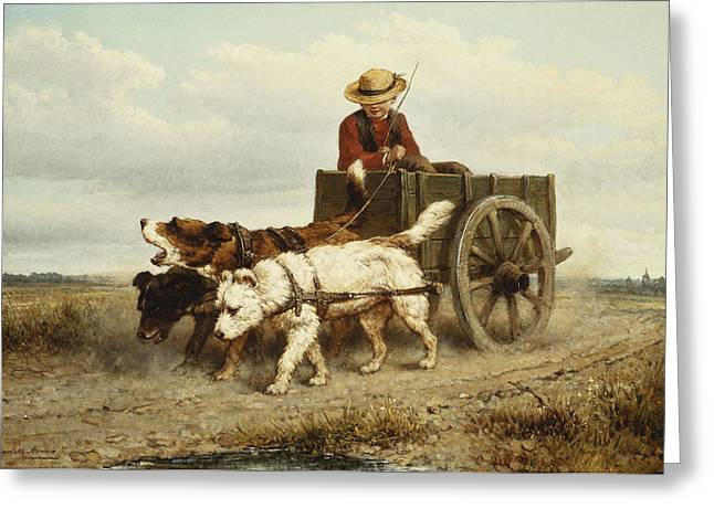 The Dog Cart Greeting Card by Henriette Ronner-Knip
