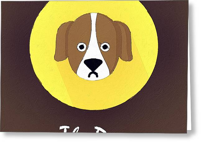 Cute Animal Cartoon Greeting Cards - The Dog Cute Portrait Greeting Card by Florian Rodarte