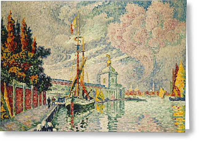 Docked Sailboat Greeting Cards - The Dogana Greeting Card by Paul Signac