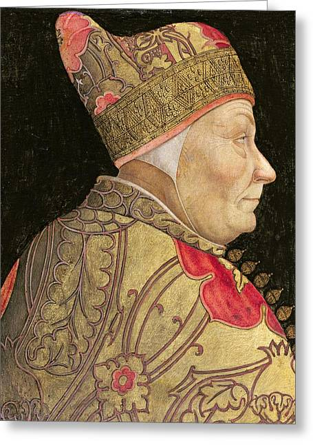 Side View Paintings Greeting Cards - The Doge Francesco Foscari Greeting Card by Lazzaro Bastiani