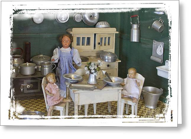 Interior Scene Greeting Cards - The Dollhouse From Other Times Greeting Card by Helga Koehrer-Wagner