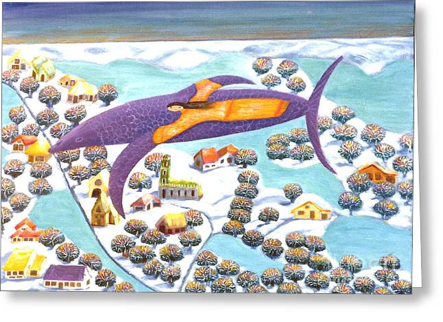 Fantasy Church With Dreamy Trees Greeting Cards - The dolphin and I Greeting Card by Barbara Sala