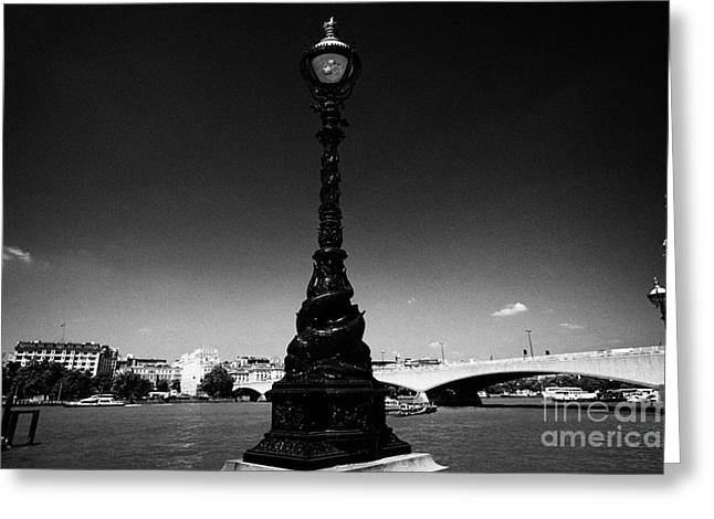 Streetlight Greeting Cards - the dolphin lamp standards which are actually sturgeon on queens walk by the river thames London E Greeting Card by Joe Fox