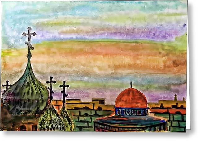 From The Dome Greeting Cards - The Dome-0f The Rock6 Greeting Card by Astro Nader