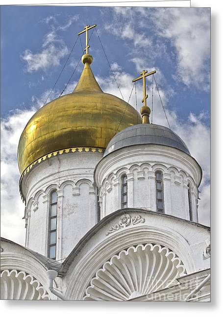 The Domes Of Archangel Cathedral Greeting Card by Elena Nosyreva