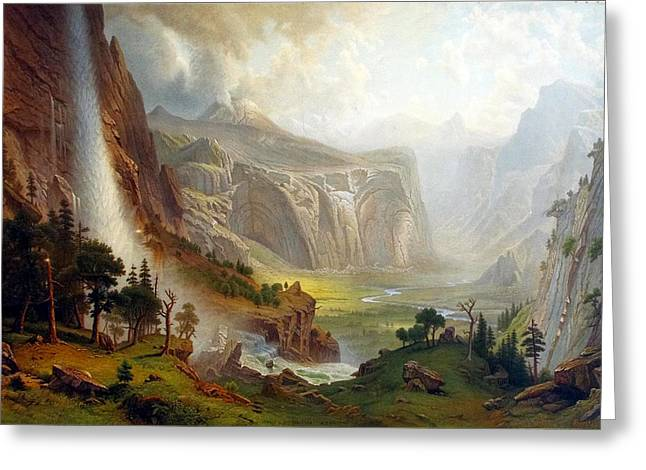 Bierstadt Greeting Cards - The Domes of the Yosemite Greeting Card by Albert Bierstadt