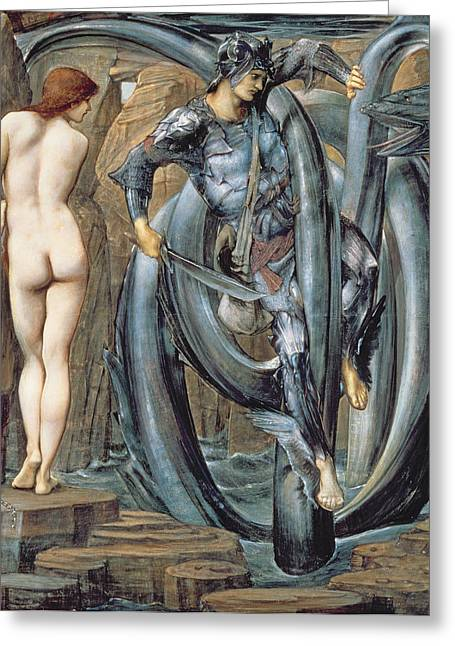 Andromeda Greeting Cards - The Doom Fulfilled C.1882 Greeting Card by Sir Edward Coley Burne-Jones