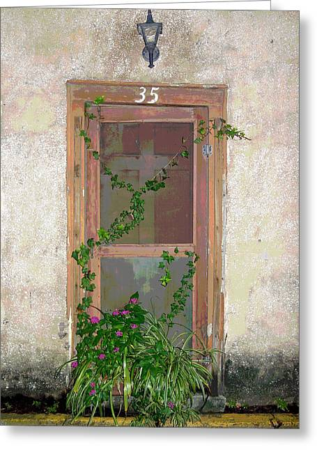 Screen Doors Greeting Cards - The Door at 35 Spanish Street Greeting Card by Rebecca Korpita