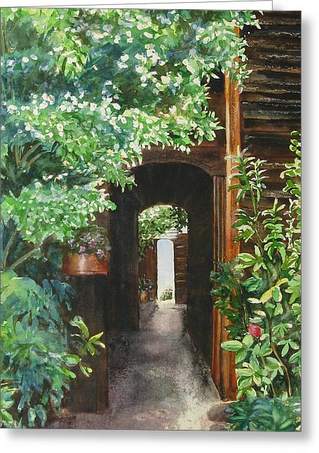Entryway Paintings Greeting Cards - The Door Into Summer Greeting Card by Joan Senkowicz