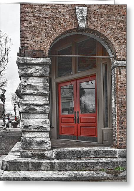 Stepping Stones Greeting Cards - The Door is Red Greeting Card by Sharon Popek