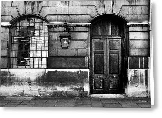 Urban Buildings Greeting Cards - The Door Greeting Card by Mark Rogan