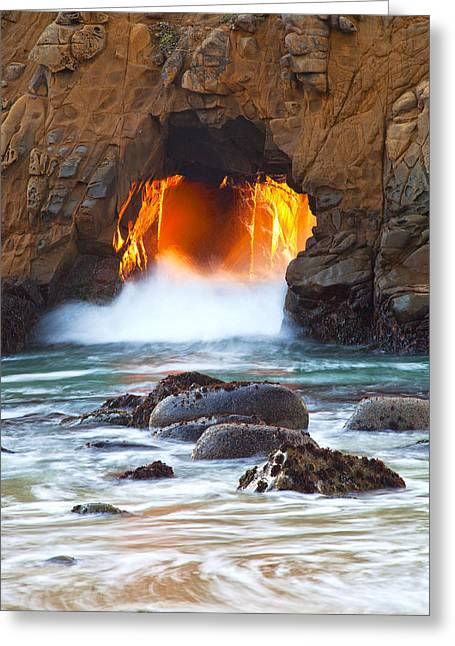 Big Sur Beach Greeting Cards - The Door Pfeiffer Beach Greeting Card by David Gubernick