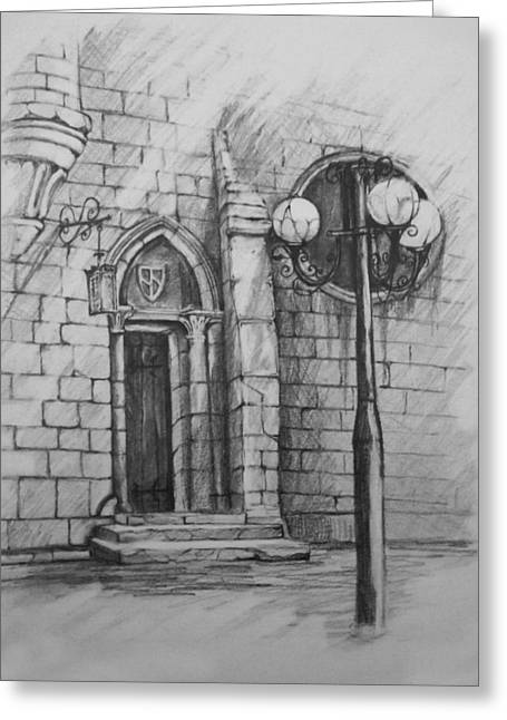 Night Lamp Drawings Greeting Cards - The door to... Greeting Card by April Lily