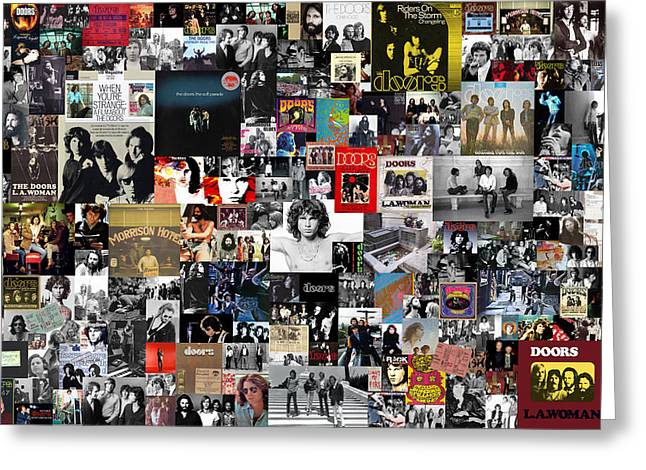 Music City Greeting Cards - The Doors Collage Greeting Card by Taylan Soyturk