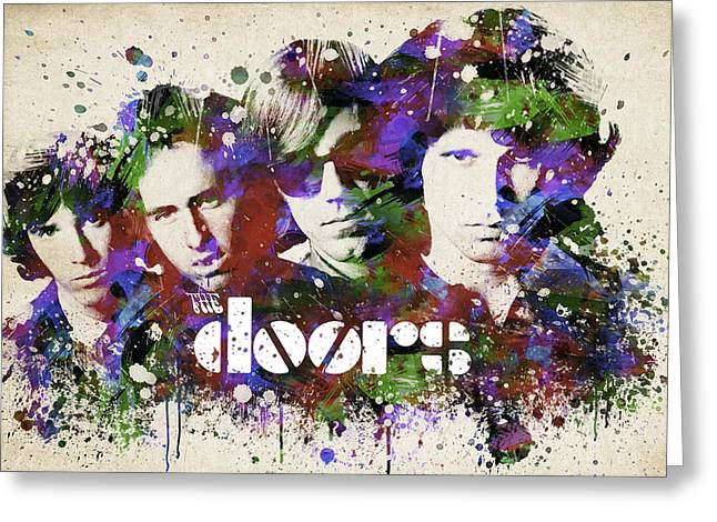 Rock Digital Art Greeting Cards - The Doors Portrait Greeting Card by Aged Pixel