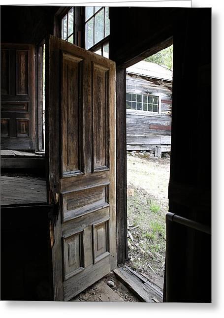 Barn Door Greeting Cards - The Doorway Greeting Card by Mark Eisenbeil