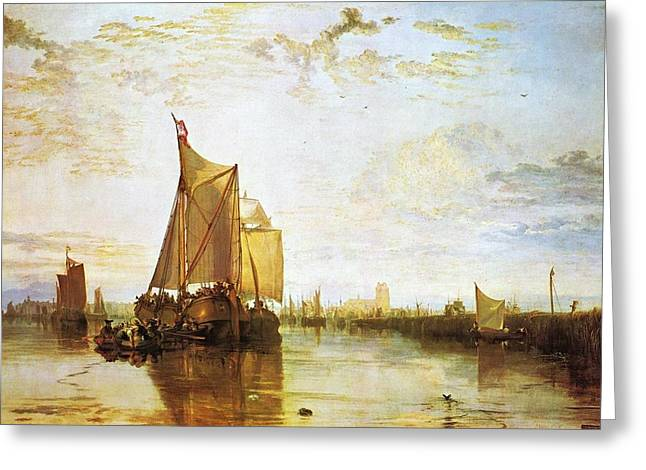 Jmw Greeting Cards - The Dort packet boat from Rotterdam becalmed 1818 Greeting Card by Joseph Mallord William Turner