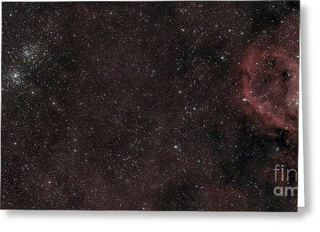 Pacman Digital Art Greeting Cards - The Double Cluster, Heart Nebula Greeting Card by Rogelio Bernal Andreo