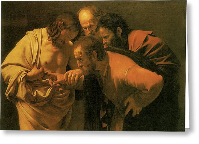 Doubting Greeting Cards - The Doubting of St Thomas Greeting Card by Caravaggio