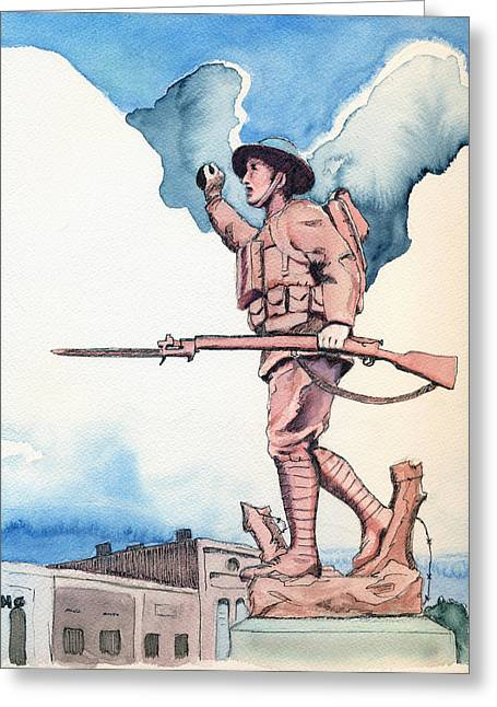 Spencer Indiana Greeting Cards - The Doughboy Stands Greeting Card by Katherine Miller