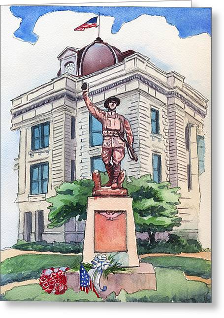 Doughboy Paintings Greeting Cards - The Doughboy Statue Greeting Card by Katherine Miller