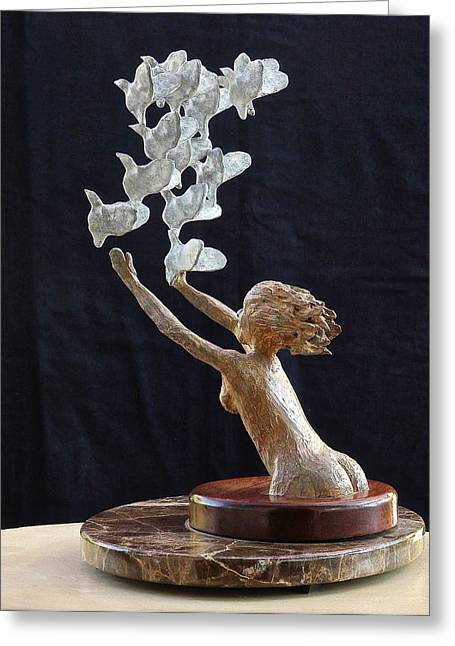 Maiden Sculptures Greeting Cards - The Dove Maiden Greeting Card by Dan Redmon