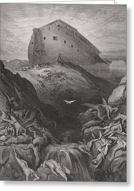 Noah Greeting Cards - The Dove Sent Forth From The Ark, Genesis 138-9, Illustration From Dores The Holy Bible, 1866 Greeting Card by Gustave Dore