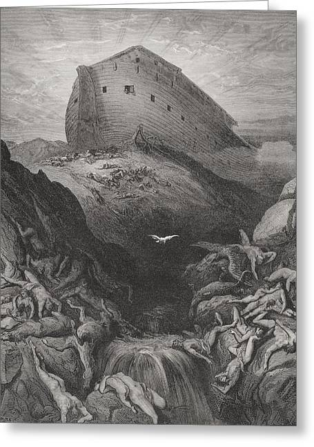 White River Drawings Greeting Cards - The Dove Sent Forth From The Ark Greeting Card by Gustave Dore