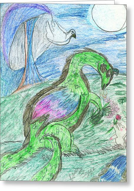 Fantasy Creatures Greeting Cards - The Dragon and the Bunny  Greeting Card by Kd Neeley