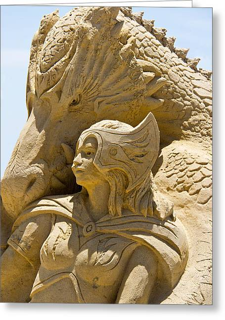 The Dragon And The Goddess Greeting Card by Tom Gari Gallery-Three-Photography