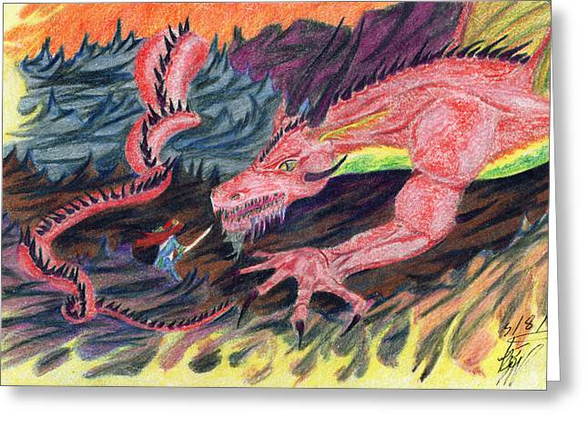 Maiden Greeting Cards - The Dragon and the Lady Greeting Card by Kd Neeley