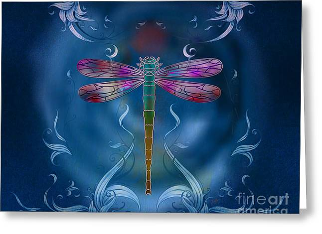 Shiny Mixed Media Greeting Cards - The Dragonfly Effect Greeting Card by Bedros Awak