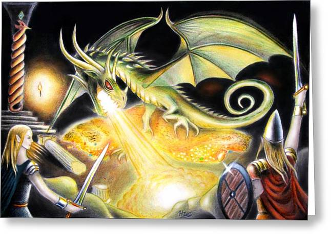 Dungeons Drawings Greeting Cards - The Dragons hoard Greeting Card by Ilias Patrinos