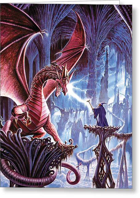 Elderlies Greeting Cards - The dragons lair Greeting Card by Steve Crisp