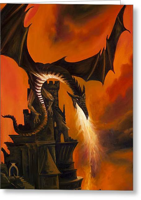 Thunder Paintings Greeting Cards - The Dragons Tower Greeting Card by James Christopher Hill