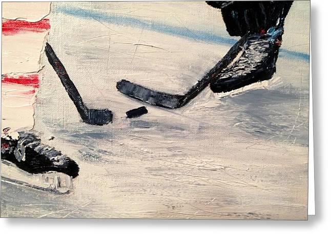 Shinny Hockey Greeting Cards - The Draw Greeting Card by Desmond Raymond
