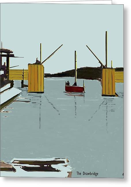 Docked Sailboats Mixed Media Greeting Cards - The Drawbridge   Number 11 Greeting Card by Diane Strain