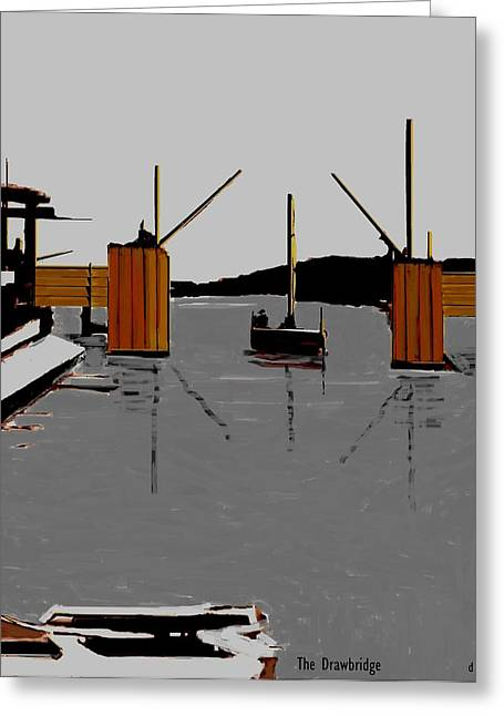 Docked Sailboats Mixed Media Greeting Cards - The Drawbridge   Number 12 Greeting Card by Diane Strain