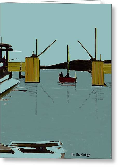 Sailboat Images Mixed Media Greeting Cards - The Drawbridge   Number 13 Greeting Card by Diane Strain