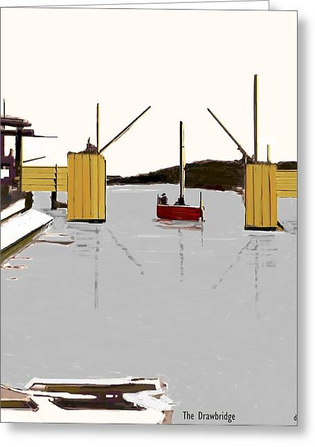 Sailboats Docked Greeting Cards - The Drawbridge   Number 14 Greeting Card by Diane Strain