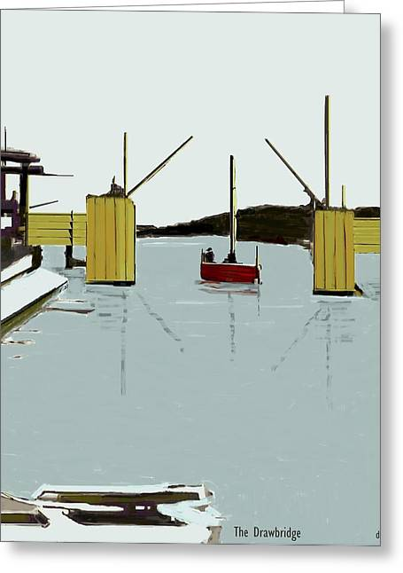 Docked Sailboat Mixed Media Greeting Cards - The Drawbridge   Number 4 Greeting Card by Diane Strain