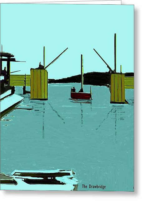 Yellow Sailboats Greeting Cards - The Drawbridge   Number 6 Greeting Card by Diane Strain