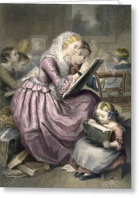Lessons Greeting Cards - The Drawing School, C.1835 Greeting Card by French School