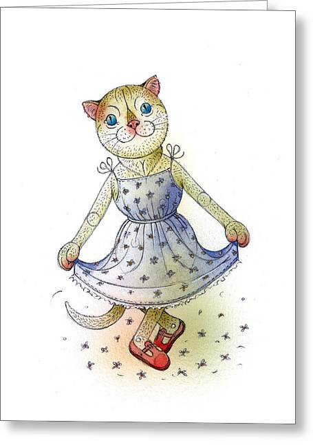 Cat Greeting Card Greeting Cards - The Dream Cat 03 Greeting Card by Kestutis Kasparavicius