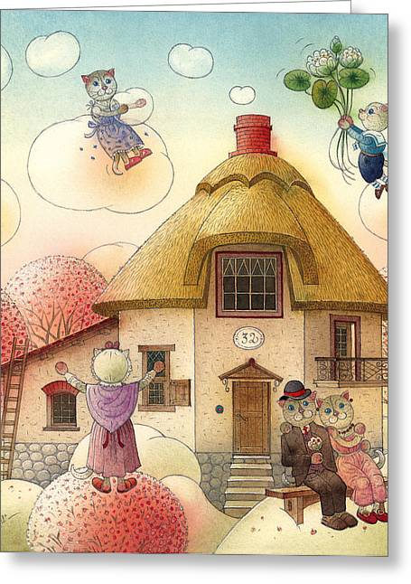 House Cat Greeting Cards - The Dream Cat 05 Greeting Card by Kestutis Kasparavicius