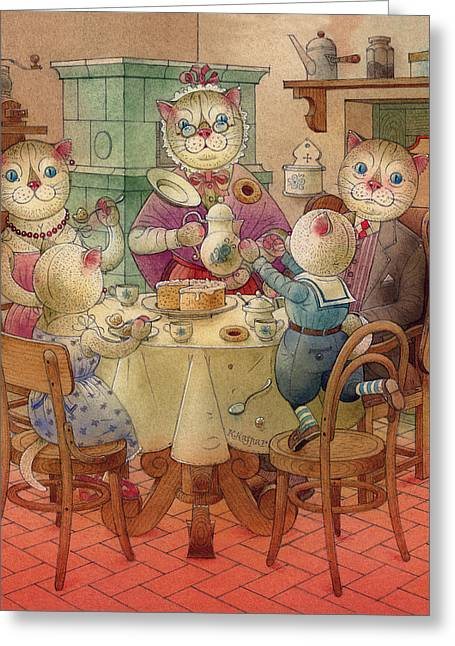 Dreams Drawings Greeting Cards - The Dream Cat 08 Greeting Card by Kestutis Kasparavicius